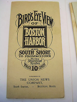 RARE ANTIQUE MAP! BIRDS EYE VIEW OF BOSTON HARBOR and South Shore UNION NEWS CO