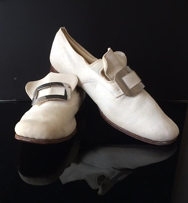 1920's Boys White Kid Leather Buckle Dress Shoes – with Original Box