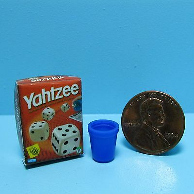 Dollhouse Miniature Replica Game Box of Yahtzee with Shaker Cup ~ BG007