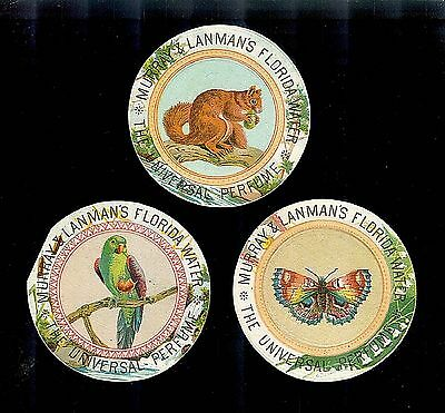 Butterfly~Squirrel~Parrot-3 Victorian Trade Cards-Lanman's Florida Water Perfume