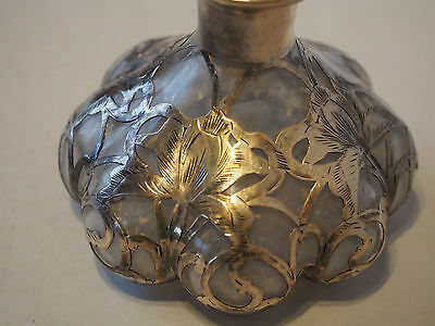 Antique~Steuben Lobed Crystal~Alvin 925 Sterling Overlay Scent Perfume Bottle