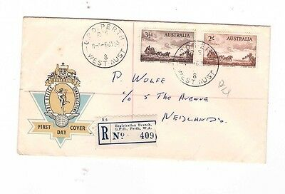 Australia 1955 Cobb & Co on Registered OFFICIAL FDC, cds GPO PERTH WA
