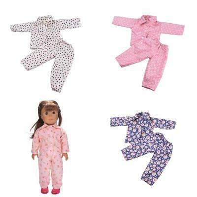 4 SETS Pajamas PJS Sleepwear Doll Clothes Fit 18'' American Girl Dolls Accessory