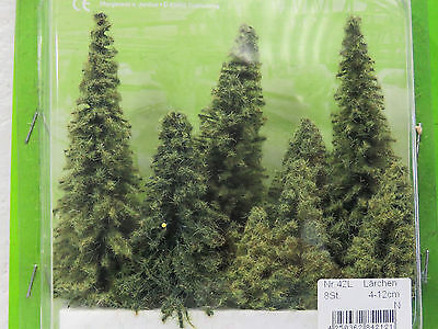 JORDAN scenery PINE TREES 8 pieces. HO scale 4-12cm #42L New in pack