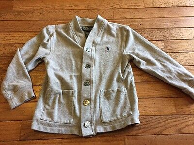 Polo, Ralph Lauren Boys Size 5 Gray Buttoned Front Cardigan Sweater