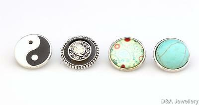 18mm BUTTON for Snap Button Noosa Style Jewellery Yin Yang Flower Tree of Life
