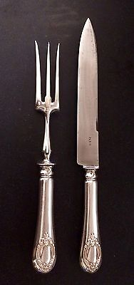 Antique French Neoclassic Sterling Silver Carving Set in Original Box (no Mono)