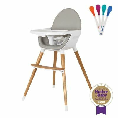 Childcare Pod Timber Baby Feeding High Chair + Free Munchkin Safety Spoons