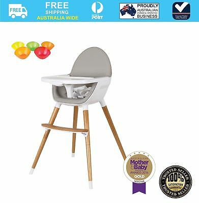 Childcare Pod Timber Feeding High Chair + Free Munchkin Multi Bowls 5PK