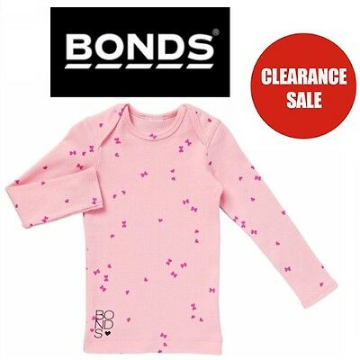 NEW BONDS BABY RIBBIE LONG SLEEVE TOP Girls Tee Ribbed Cord Pink Kids CLEARANCE