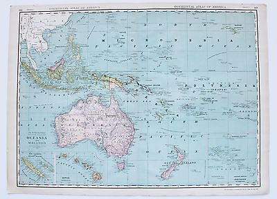 1913 Hawaii Oceania Malaysia Map Commercial Atlas Color Large Double Page RARE