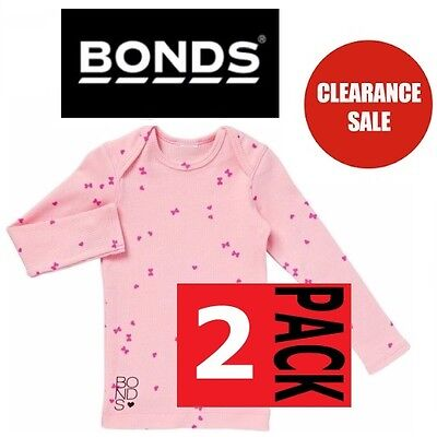 2 x NEW BONDS BABY RIBBIE LONG SLEEVE TOP Girls Tee Ribbed Cord CLEARANCE SALE