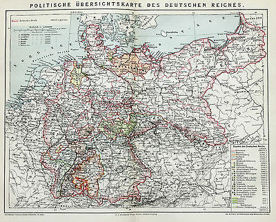 1883 Germany Political Map Prussia Original German Brockhaus Railroads Townships