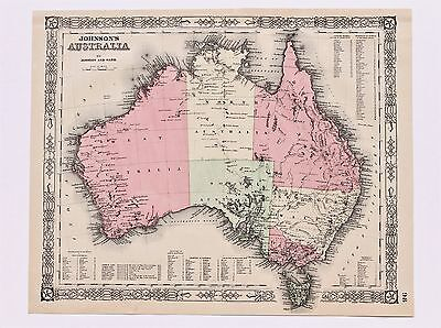 1864 Australia Map New South Wales Queensland Victoria Van Diemens ORIGINAL RARE