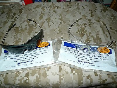 2 Pr. Smith & Wesson Z87 Safety Glasses shooting, riding 1 W/clear 1W/Smoke Lens