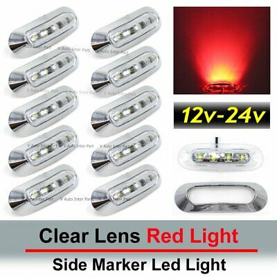 10X 12V 24V Clear Red 4 SMD LED Side Marker Truck Trailer Tail Light Clearance