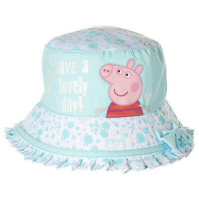 NWT Peppa Pig Licensed Girls Cotton Bucket Sun Hat with Bow Size 4-6 years