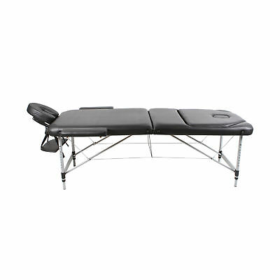 New Aluminium 3 Fold Wooden Portable Massage Table Bed Waxing Black Treatment