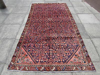 Old Traditional Hand Made Persian Carpet Rugs Wool Blue Oriental Rug 287x150cm