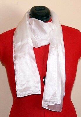 White silk scarf ready for painting or dyeing. 150 x 35 Pongee 5mm 100% silk.