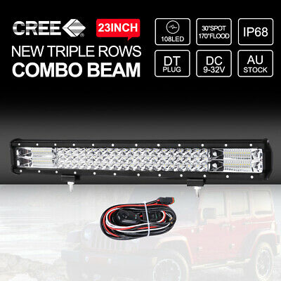 23 inch CREE LED Light Bar Quad Row Spot Flood 4x4 Jeep Car Driving Lamp 12V 24V