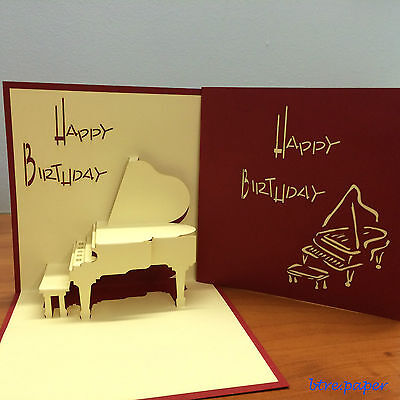 Piano 3D Birthday card pop up greeting card gift card