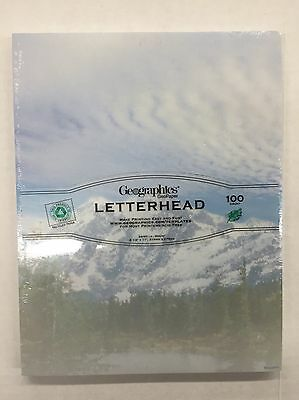 """Geographics Letterhead Stationery Mountainview 8.5"""" x 11"""" 100 Sheets (NEW)"""