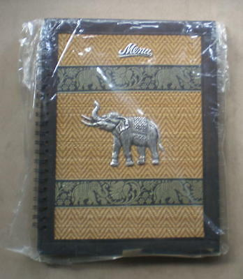 Royal Thai Elephant Wicker Reed Food Drink Menu List Book Restaurant Photo Album