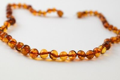 Baby amber necklace Genuine Cognac polished Baltic Baroque beads child 13 inches