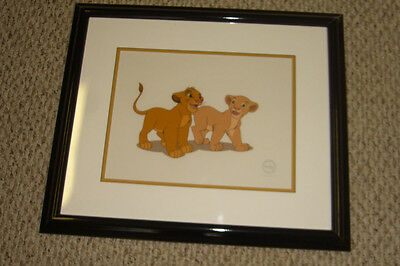 Disney 1994 The Lion King Sericel Framed Limited Edition Simba And Nala