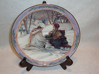 Trisha Romance EVENING SKATERS Collectors Plate Limited Edition Christmas