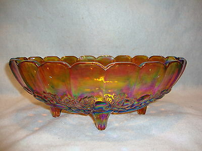 "Indiana Carnival Glass Large Iridescent Oval FRUIT BOWL Footed 12"" x 8.5"" Amber"