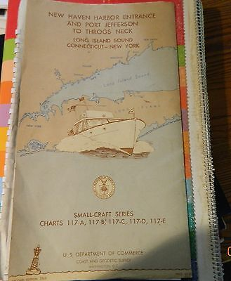Vintage Nautical Chart, 1963, New Haven Harbor to Port Jeff to Long Island NY