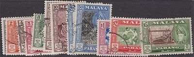 MALAYA PAHANG QEII 1957 Set of 12 Scott 72-82 SG75-86 Used cv £26