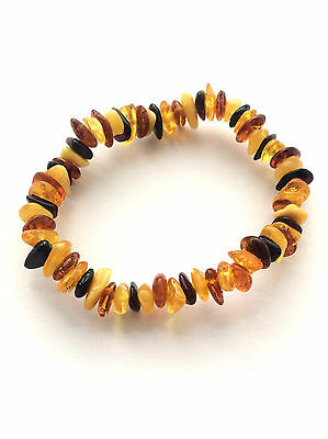 Baby amber Bracelet Genuine Multicolored Baltic natural beads 6.5 inches Elastic