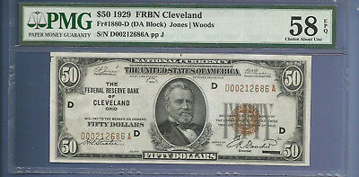 CC&C $50 1929 - Federal Reserve Bank Note CLEVELAND - AU - AWESOME - SHIPS FREE!