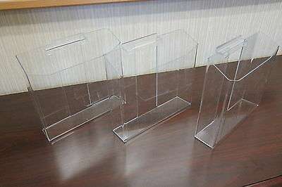 Slatwall Literature Holders for 8.5 x 11 Brochures Pocket Clear Acrylic Set of 3