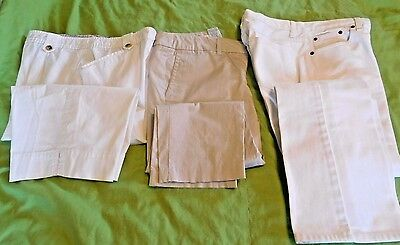 Lot Of Three (3) Pair Women's Size 8 White Jeans &  Tan And White Capri Pants