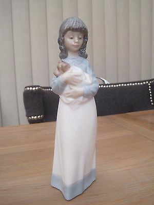 Nao Porcelain Figure 1990 Girl Holding Puppy Dog