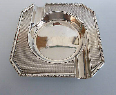 Solid SILVER Engine Turned ASHTRAY. c67g. Crisford & Norris, Birmingham 1938.