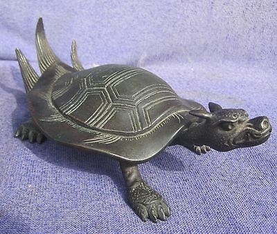Antique Japanese Hiragana or Dragon Turtle Bronze 7 inches Signed Meiji