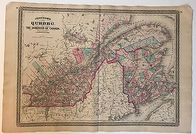 1870 Johnson's Map Of Quebec Hand Colored