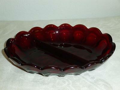 """Anchor Hocking Royal Ruby Red Divided Serving Dish - Scallop Edge 7"""" x 5"""""""