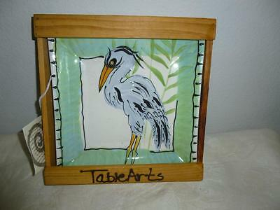 """Vintage 1996 TableArts Debra Chermiawsky Blue Heron Square Plate in Crate - 7.5"""""""