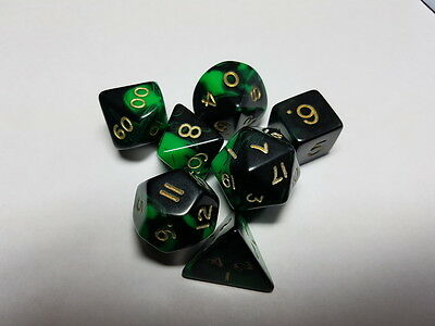Dice & Games Oblivion 7 x Polyhedral Poly Dice Set Green and Black  D&D RPG