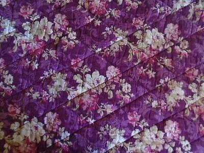 French Antique c1890 French Provence Burgundy Floral Quilted Coverlet