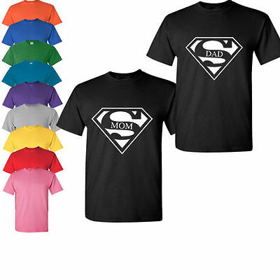 Super Mom Super Dad couple matching Family Christmas gift t shirt tank top