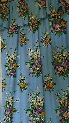 "Gorgeous Quality 1950s Pair French Chateau Drapes ""Petits Bouquets"""
