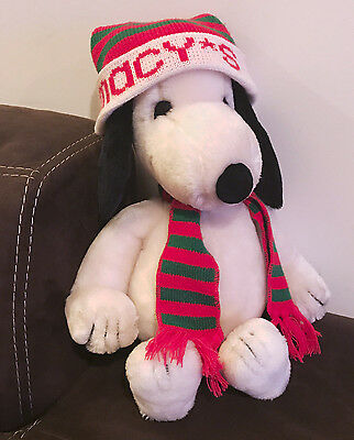 """Vintage Macy's Plush 21"""" Large Snoopy 1968 Peanuts Christmas Holiday Hat Snoopey"""