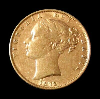 1872 Gold Great Britain Victoria Young Head Shield Reverse Sovereign Die 7
